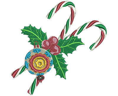 Embroidery Design: Candy Canes & Ornament Lg 3.96w X 3.90h