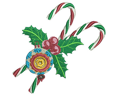 Embroidery Design: Candy Canes & Ornament Med 3.46w X 3.41h