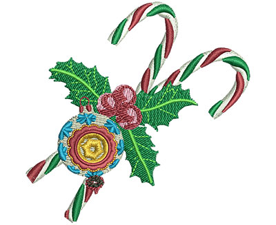 Embroidery Design: Candy Canes & Ornament Sm 2.96w X 2.92h