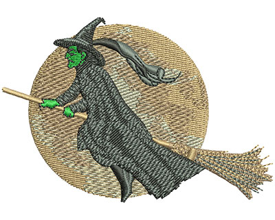 Embroidery Design: Witch And The Moon Lg3.50w X 2.40h
