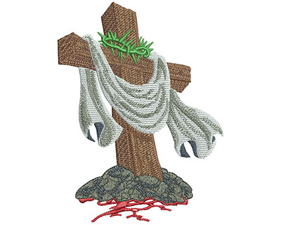 Embroidery Design: Cross With Crown Of Thorns Lg 4.13w X 5.51h