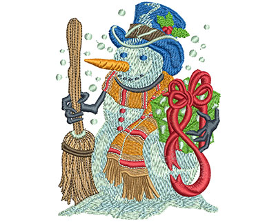 Embroidery Design: Holiday Snowman Lg 3.02w X 4.01h