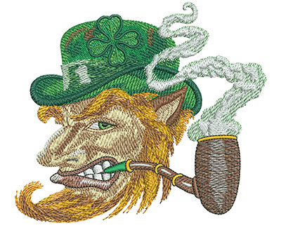 Embroidery Design: Leprechaun Profile Lg 5.00w X 4.40h