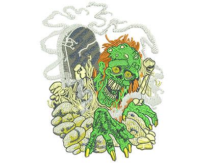 Embroidery Design: Zombie Graveyard Lg 4.61w X 5.95h