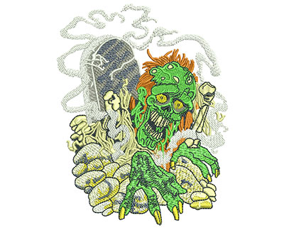 Embroidery Design: Zombie Graveyard Med 3.84w X 4.96h