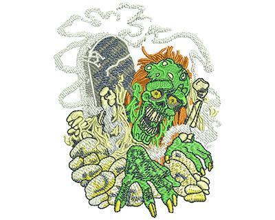 Embroidery Design: Zombie Graveyard Sm 3.06w X 3.95h