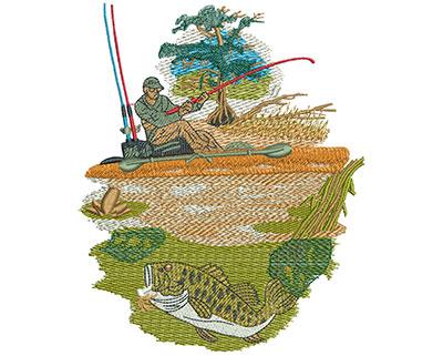 Embroidery Design: Kayak Fishing Lg 4.90w X 5.96h