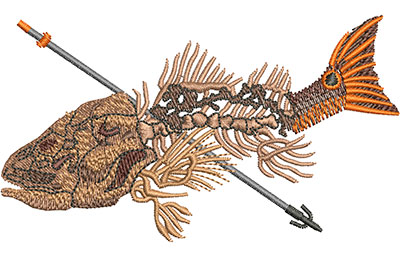 Embroidery Design: Bowfishing Red Med 4.01w X 2.28h