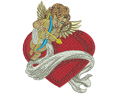 Embroidery Design: Cupid Heart Banner Sm 2.88w X 3.70h