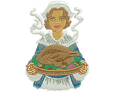 Embroidery Design: Pilgrim Serving L 3.54H X 2.50W