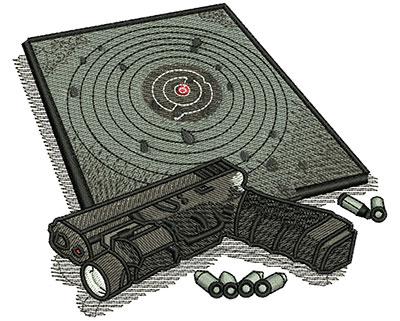 Embroidery Design: Gun Target Lg 4.53w X 3.81h