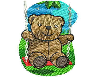Embroidery Design: Swinging Teddy Bear Lg 3.90w X 5.02h