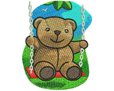 Embroidery Design: Swinging Teddy Bear Med 3.14w X 4.04h