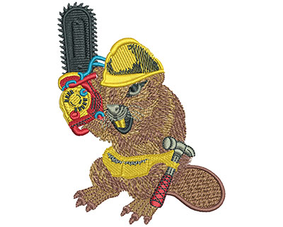 Embroidery Design: Beaver And Chainsaw Lg 3.04w X 4.03h