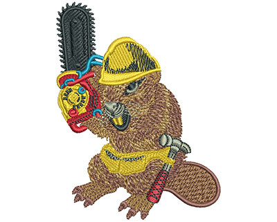Embroidery Design: Beaver And Chainsaw Med 2.66w X 3.53h
