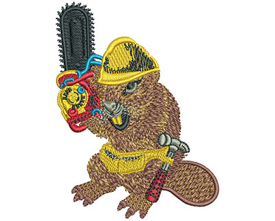 Embroidery Design: Beaver And Chainsaw Sm 2.29w X 3.04h
