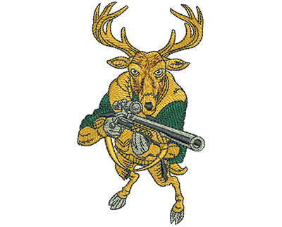Embroidery Design: Deer With Rifle Lg 2.27w X 3.97h