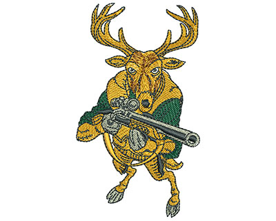 Embroidery Design: Deer With Rifle Med 1.99w X 3.47h