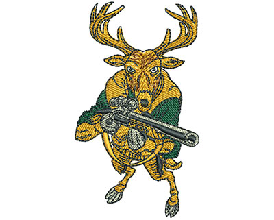 Embroidery Design: Deer With Rifle Sm 1.70w X 2.97h