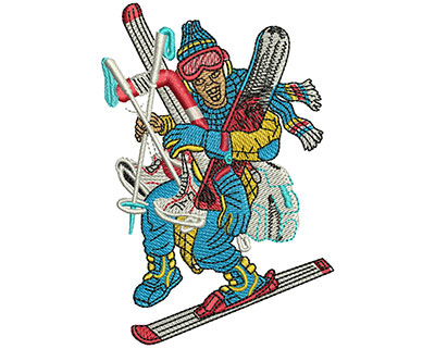 Embroidery Design: Gear Up Winter Vacation Lg 2.74w X 4.04h