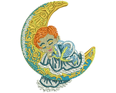 Embroidery Design: Sleeping Baby Moon Med 2.47w X 3.02h