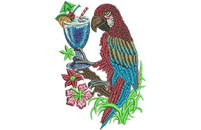 Embroidery Design: Parrot With Drink Lg 3.73w X 5.37h