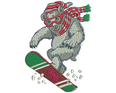 Embroidery Design: Polar Bear Snow Boarding Med 2.53w X 3.51h