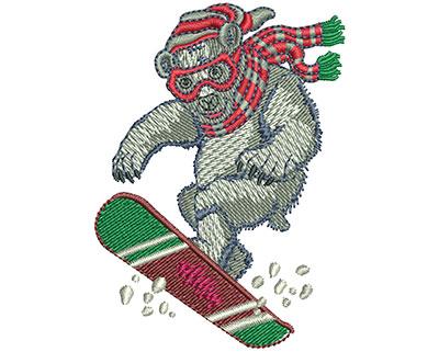 Embroidery Design: Polar Bear Snow Boarding Sm 1.93w X 2.50h
