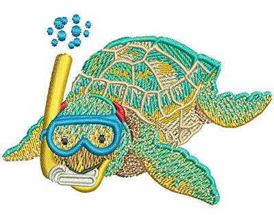 Embroidery Design: Baby Sea Turtle Snorkel Lg 3.51w X 2.49h