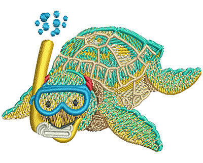 Embroidery Design: Baby Sea Turtle Snorkel Med 3.01w X 2.13h