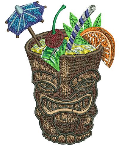 Embroidery Design: Tiki Cocktail Lg 3.40w X 4.53h