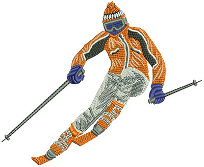 Embroidery Design: Skiing Downhill Lg 4.80w X 3.92h