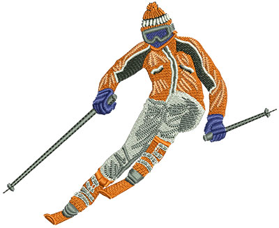 Embroidery Design: Skiing Downhill Med 4.30w X 3.50h