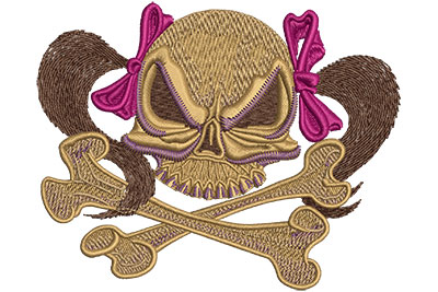 Embroidery Design: Skull With Pigtails Lg 4.45w X 3.59h