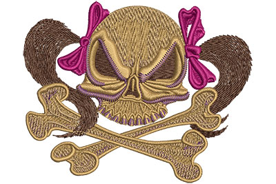 Embroidery Design: Skull With Pigtails Med 3.95w X 3.19h