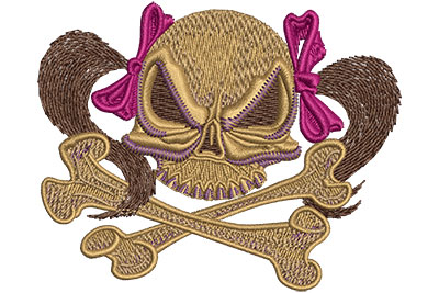 Embroidery Design: Skull With Pigtails Sm 3.45w X 2.79h