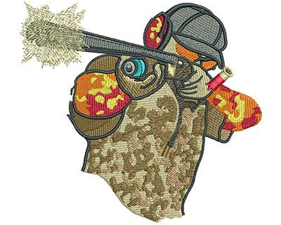 Embroidery Design: Shotgun Pointing L 4.50H X 4.93W