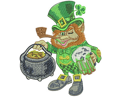 Embroidery Design: Leprechaun Pot Of Gold Lg 3.86w X 4.51h