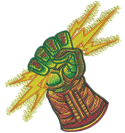 Embroidery Design: Glove With Lightning Bolt Lg 3.92w X 4.50h