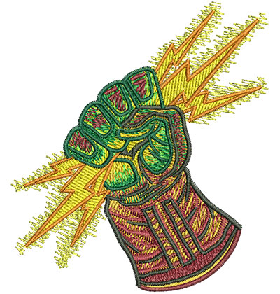 Embroidery Design: Glove With Lightning Bolt Sm 3.06w X 3.51h