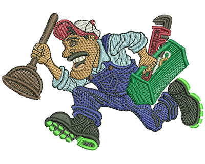 Embroidery Design: Plumber Running Lg 3.99w X 2.72h