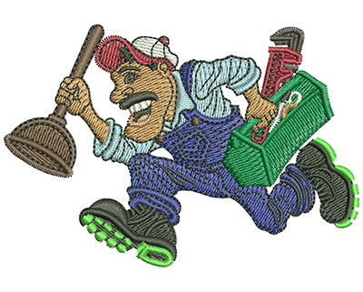 Embroidery Design: Plumber Running Med 3.49w X 2.38h