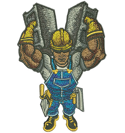 Embroidery Design: Worker Carrying Cinder Blocks Lg 3.39w X 5.03h