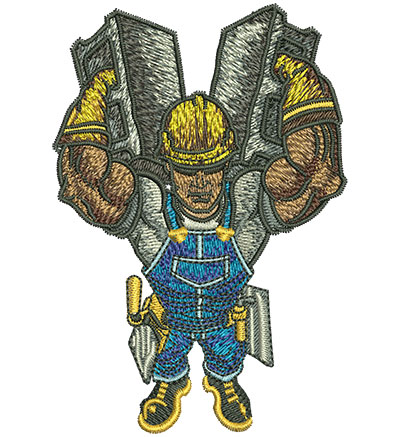 Embroidery Design: Worker Carrying Cinder Blocks Sm 2.71w X 4.03h