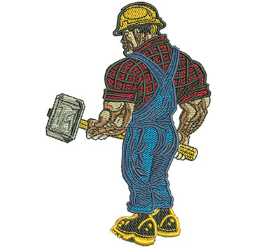 Embroidery Design: Worker With Sledgehammer Lg 2.67w X 4.00h