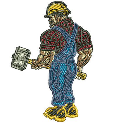 Embroidery Design: Worker With Sledgehammer Med 2.34w X 3.50h