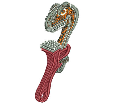 """Embroidery Design: Angry Pipe Wrench Lg 1.74w X 4"""""""