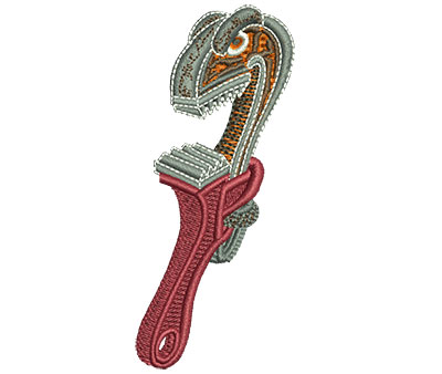 Embroidery Design: Angry Pipe Wrench Med 1.53w X 3.5h