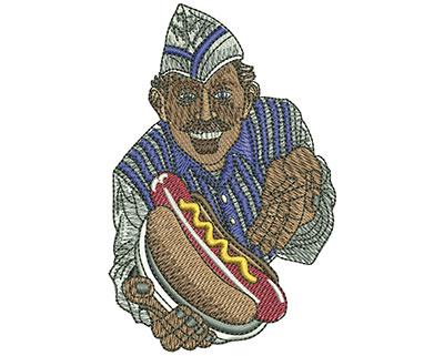 Embroidery Design: Hot Dog Vendor Med 2.61w X 4h