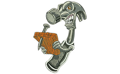 Embroidery Design: Angry Hammer Lg 2.95w X 3.98h